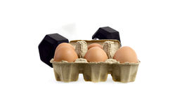 Healthy. Dumbbell and Eggs , isolated on white background :Concept for healthy Royalty Free Stock Photography