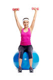 Healthy dumbbell woman Stock Photo
