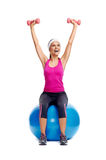 Healthy dumbbell woman Stock Image