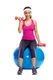Healthy dumbbell woman Royalty Free Stock Photography