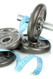 Healthy dumbbells on white. Healthy dumbbells isolated on white royalty free stock photography
