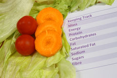 Healthy Eating. Nutritional Counter and Healthy Salad. Yum stock image