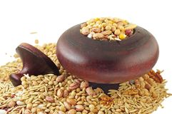 Healthy Eating. Grains, seeds and beans in wooden pot Stock Image