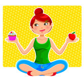 Healthy eating. Girl choosing between an apple and a cupcake Stock Photos