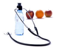 Healthy Eating. A clean fresh bottle of water and fruit. Healthy lifestyle Royalty Free Stock Photo