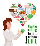Healthy Eating Advertising Poster. With young woman holding green apple and useful food icons in heart form cartoon vector illustration Royalty Free Stock Image