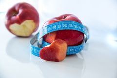 Healthy eating apple with heart shaped stock image