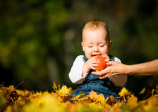 Healthy eating - baby and apple Royalty Free Stock Photography