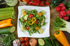 Healthy eating background. Different vegetables and salad Stock Photo