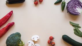 Healthy food background / different vegetables isolated on light background. Copy space stock photography