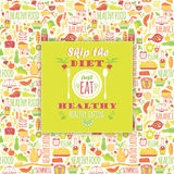Healthy eating background with quote. Stock Image