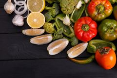 Healthy eating background studio photography of different fruits and vegetables on old wooden table stock image