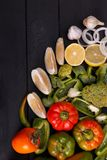 Healthy eating background studio photography of different fruits and vegetables on old wooden table royalty free stock images