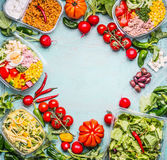 Healthy eating background with Variety of vegetable and vegetables salad bowls. Fitness or diet nutrition. Take away lunch ideas. Top view, frame Stock Image