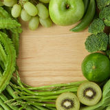 Healthy eating background. Various of green fruits and vegetable Royalty Free Stock Photos