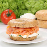 Healthy eating bagel for breakfast with salmon fish Royalty Free Stock Photos