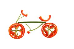 Healthy eating. Bicycle made of vegetables. Stock Image
