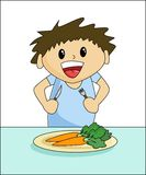 Healthy Eating - Boy. Cute cartoon boy eating carrots Royalty Free Stock Images