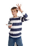 Healthy Eating - boy holding blueberries Stock Images