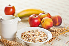 Bowl of muesli for breakfast with fruits Stock Photo