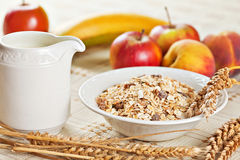 Bowl of muesli for breakfast with fruits Royalty Free Stock Images