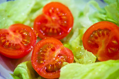Healthy eating: cherry tomatoes and salad Stock Photography