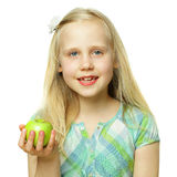 Healthy eating - child girl holding apple Royalty Free Stock Image