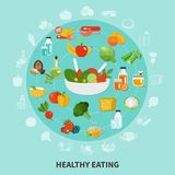 Healthy Eating Circle Composition. Healthy eating composition large circle composed of flat icon set of fruits and vegetables vector illustration Stock Photos