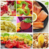 Healthy eating collage Royalty Free Stock Image