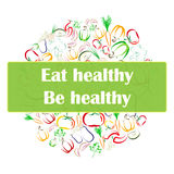 Healthy Eating concept banner. Healthy eating banner, flier template design. Contour vegetables arranged in circle on white background. Vegetarian raw eating Stock Image