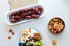 Healthy Eating with Date Palm, Grape, Kiwi Royalty Free Stock Photo