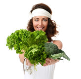 Healthy eating concept. Dieting. Woman hold lettuce broccoli and Stock Image