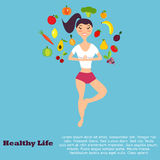 Healthy eating concept with flat images fruits, vegetables and girl royalty free illustration
