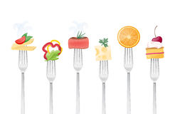 Healthy eating. Concept with food and forks Royalty Free Stock Image