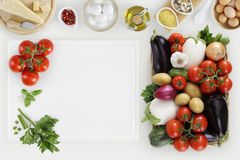 Healthy eating concept with fresh vegetables and cooking ingredi. Ents on kitchen white worktop, copy space, top view Stock Images