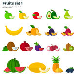 Healthy Eating Concept. Fruit and Slices on White Royalty Free Stock Photos
