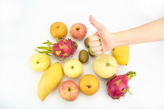 Healthy eating concept,Hand with thumb up Royalty Free Stock Images