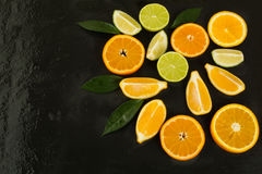 Healthy eating concept with lime, orange and lemon Stock Photography