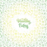 Healthy Eating vector illustration with vegetables icons pattern stock illustration