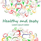 Healthy Eating concept square banner design. Healthy eating flier template design. Contour vegetables arranged in semi-circles on white. Vegan, raw eating Stock Photography