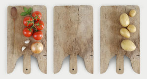 Healthy eating concept with tomatoes, onion, garlic, potatoes an Royalty Free Stock Photos