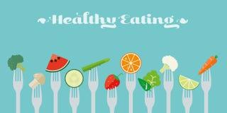 Healthy Eating Concept Vector Illustration. Healthy eating concept. Variety of fruit and vegetables sticked on forks flat design illustration Royalty Free Stock Images