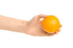 Healthy eating and diet Topic: Human hand holds a ripe orange isolated on a white background in the studio Royalty Free Stock Photos