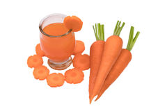 Healthy eating and dieting concept,fresh carrot  and carrot juic Stock Photos