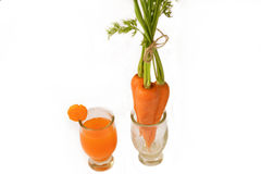Healthy eating and dieting concept,fresh carrot  and carrot juic Royalty Free Stock Photos