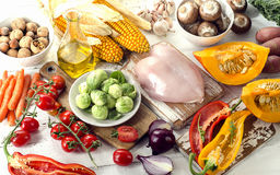 Healthy eating, dieting concept. Fruits, vegetables and chicken. Breast. Toned Stock Photography