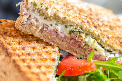 Healthy eating, dieting and cooking concept, close up of sandwich with whole-grain bread, tomatoes Royalty Free Stock Images