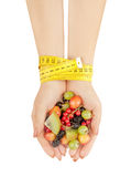 Healthy eating, dieting, vegetarian food and people concept Royalty Free Stock Images