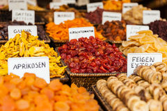 Healthy eating dried fruit snack at food market Stock Image