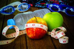 Healthy eating, fitness and weight loss concept, tape measure, a Stock Photos